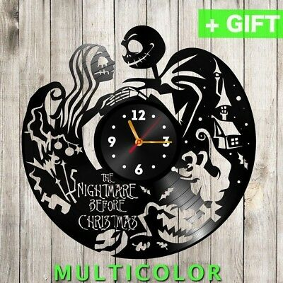 NIGHTMARE BEFORE CHRISTMAS Wall Clock Jack and Sally Vintage Vinyl Art wall deco