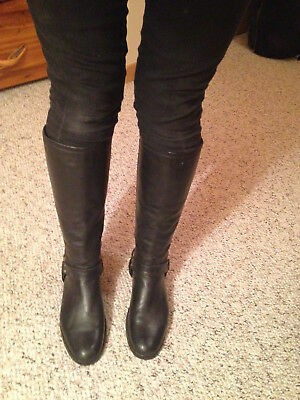 a99ad5db9b6 FRYE TALL BLACK Leather Riding Boots, Women's Size 8 1/2, New Vibram Sole