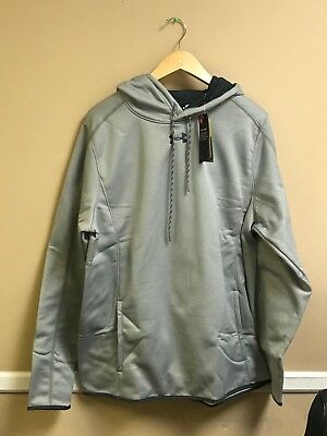 Under Armour Double Threat Hooded Sweatshirt Color True Grey 1295286 Free Ship