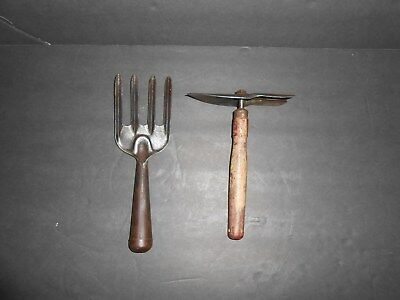 Early Primitive Antique Metal Garden Hand Tools - collectible