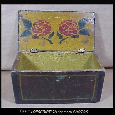 Great Antique Primitive Small Document Box Green with Floral Decoration