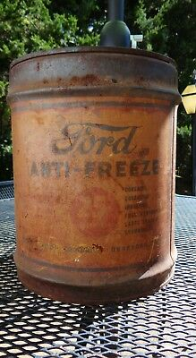 Old Antique Vtg Ford Antifreeze 5 Gallon Can Bucket Gas Oil Dearborn Michigan