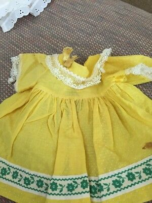 Vintage  Dotted Sw Doll Dress For Your Betsy Wetsy, Tiny Tears Lace Org Ribbons