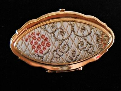 Vintage Gold Tone Fabric Lipstick Holder With Flip Up Mirror