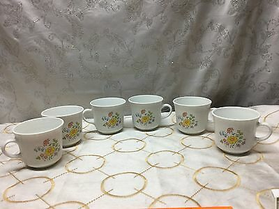 Vintage Corelle by Corning SPRING MEADOW Coffee, Tea Cups Mugs. Set of 6