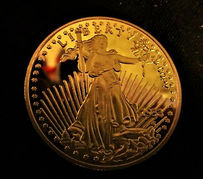 "Gold Clad 1.5"" Commemorative U.S.Double Eagle $20 Coin"