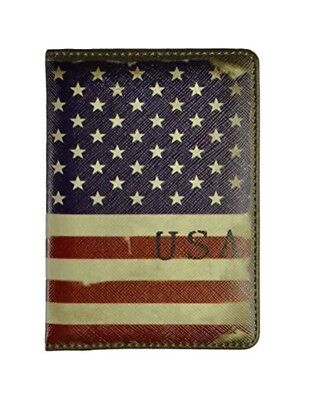 2x Pu Leather Passport Cover Holder Travel Wallet Case For Unisex USA Flag