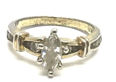 Vintage Antique Style Oxidized Silver 925 Two Tone Marquise CZ Cocktail Ring