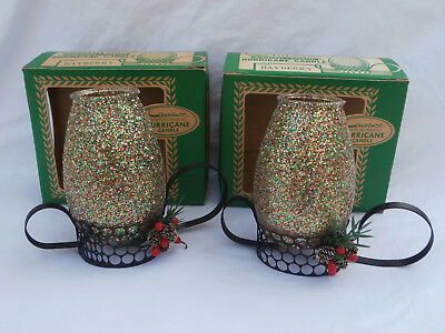 Vintage Pair of Christmas Glitter Hurricane Candle Holders by Laurence lit used