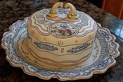 Bisque round  Butter/ Cheese Plate With Lid Handpainted, Vintage. Gorgeous!