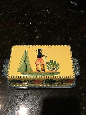 Henriot Quimper Soleil Yellow Covered Butter Dish French Collectible China