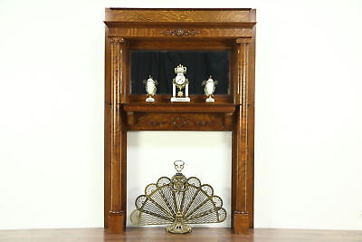 Classical Carved Oak Architectural Salvage Antique Fireplace Mantel, Mirror