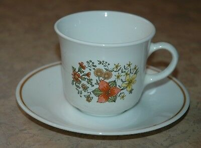 """Corning Corelle - INDIAN SUMMER / COR35 - Coffee Cup and 6 1/4"""" Saucer"""