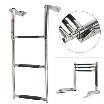 3-Step Boat Platform Stainless Steel Telescoping Ladder Swim Step Marine Ladder