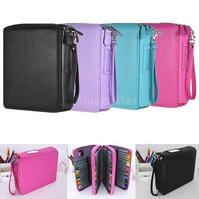 72/124 Slots Handy Deluxe PU Leather Colored Pencil Holder Pencils Case Bag Q5X8