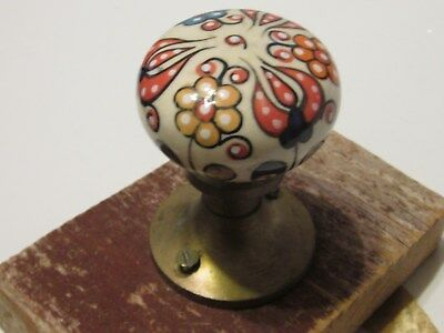 Vintage Door Knob Hand Painted Designs and Brass Mountd for Hanging Used