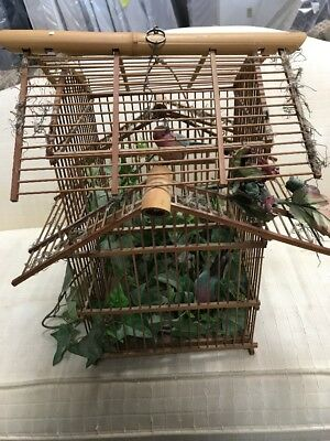 Vintage  Decorative Bamboo Wood Bird Cage Birdcage