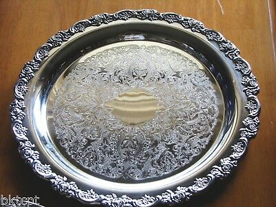 Oneida Silverplate DU MAURIER Elegant and Ornate Round Serving Tray - 15 inch
