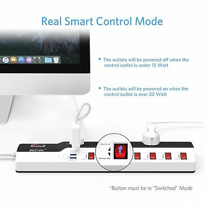 Energy Saving Power Strip with USB by BESTEK, Individual Switches Master Control