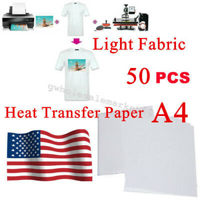 US 50 Sheets A4 Inkjet Heat Iron On Transfer Paper for Light Color Fabrics Nice