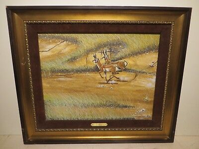 """16x20 original 1978 oil painting on board by Terry Burleson of """"Two Pronghorns"""""""