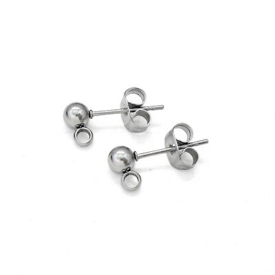 10 Pairs Stainless Steel 4mm Ball Stud w/ Loops Earring Posts & Butterfly Clutch