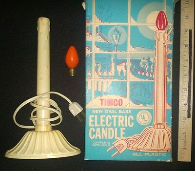 VINTAGE TIMCO ELECTRIC CANDLE IVORY PLASTIC & OVAL BASE with ORIGINAL BOX WORKS!