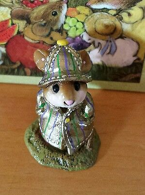 """Wee Forest Folk M-180 """"April Showers"""" MOUSE EXPO SPECIAL gold with stripes Mint"""