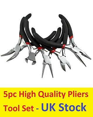 Set of 5 Round Bent Snipe Pliers End and Side Cutters Jewellery Making Tools UK