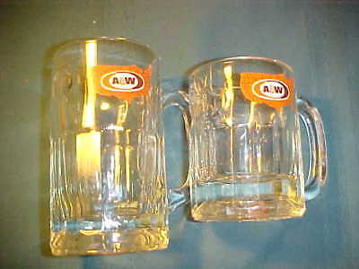 Lot 2 A&W A & W Root Beer Glass Mugs USA Map EUC
