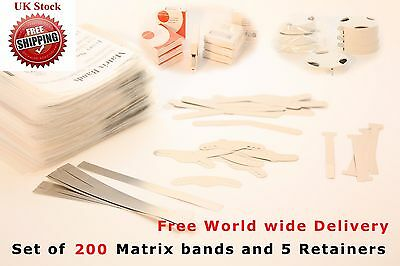 200 Dental Matrix Bands & 5 Dental Matrix Retainers Largest Variety Free Deliver