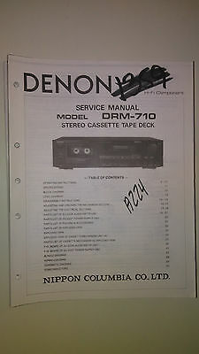 Denon drm-710 service manual original repair book stereo dual tape deck player
