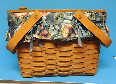 1992 Longaberger Picnic Hostess Basket with Lid Liner and Protector LRL53