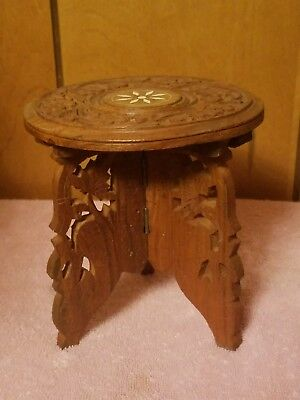 Vintage Small Round Carved Inlaid Wooden Collapsible Table India Plant  Holder