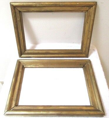 2 Small Fits 6.5 X 10 Gold Gilt Wood Picture Frames Country Primitive Fine Art