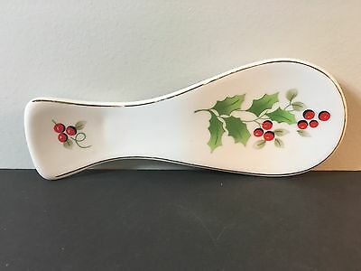 Vintage Royal Norfolk Christmas Holly & Berry Spoon Rest, White Gold Trim