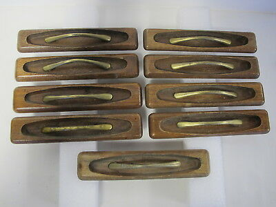 9 Mid Century Modern Furniture Drawer Cabinet Pulls Walnut and Plated Handle