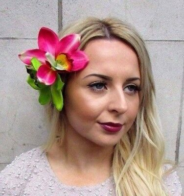 Large Double Green Pink Orchid Flower Hair Clip Rockabilly Fascinator Lily 4847