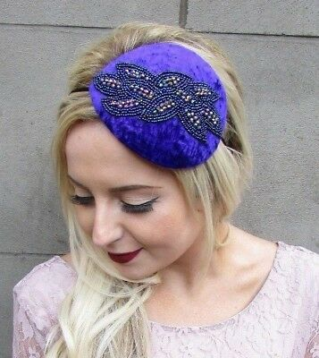 Purple Blue Velvet Beaded Fascinator Teardrop Races Headband Hat Vintage 4849