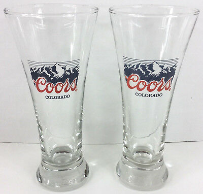 """2 Coors Colorado Pilsner Glasses 12 oz 7 1/4"""" Tall Rocky Mountain Beer"""