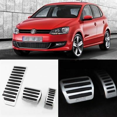 3pcs New Aluminium Non Slip Foot Rest Fuel Gas Brake Pedal Cover For VW POLO AT