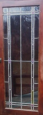 "ANTIQUE STAINED LEADED GLASS DOOR WINDOW MEASURES 52""x21"" -shipping special!!!"