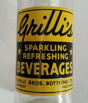 "Scarce American (Detroit,michigan) ""grilli's Beverages""12 Oz-Yellow & Black Acl"