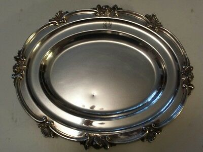 Heavy (1078 Grams) British Sterling Silver Serving Platter- Hallmarked Date 1917