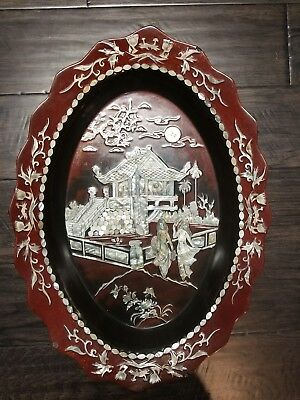 Vtg Large Asian Red Lacquer & Mother Of Pearl Inlay Octagon Tray Wall Decor 20""