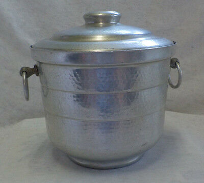 """Gailstyn Product Vintage Hammered Aluminum Ice Bucket USA 8"""" X 8"""" Ring Handles"""