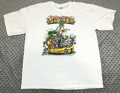 Vicious Vette Rat Fink T-Shirt White Short Sleeve HotRod RatRod Classic Chevy XL