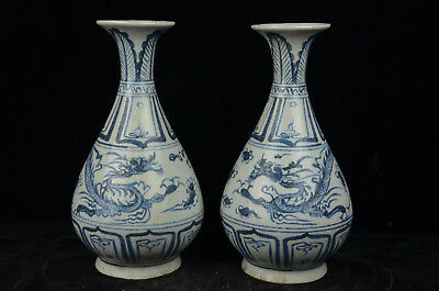 A Pair Fine Beautiful Chinese  Blue and White Porcelain Dragon Vase