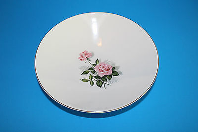Vintage Gorgeous Antique Pink Rose China Serving Bowl with Silver Gilt 10""