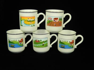 Villeroy & Boch Design NAIF ,Coffee Cups, Lot of 5, Local Free Shpg